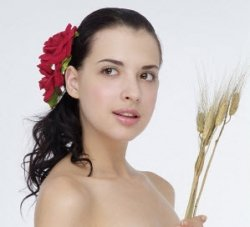 beautiful woman using herbs